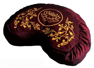 Boon Decor Crescent Zafu Pillow Meditation Cushion Lotus Enlightenment Burgundy