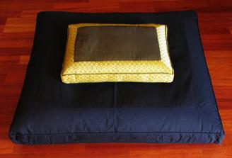 Boon Decor Meditation Cushion Set - Low Rise Zafu and Black Zabuton - Jewel Brocade Olive Green