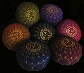 Boon Decor Meditation Cushion Buckwheat Kapok Fill Zafu Om Universe 7 high SEE COLORS