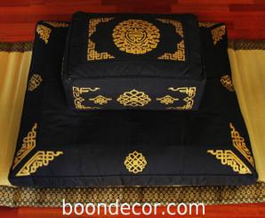 Boon Decor Meditation Cushion Rectangular Zafu and Zabuton Set - Longevity/Dharma Key - Black