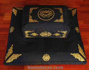 Boon Decor Meditation Cushion Rectangular Zafu and Zabuton Set - Lotus/Dharma Key - Black