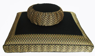 Boon Decor Meditation Cushion Zafu and Zabuton Set - Jewel Brocade - Black