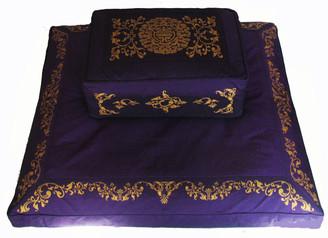 Boon Decor Meditation Cushion Set Rectangular Zafu and Zabuton - Purple - SEE SYMBOLS