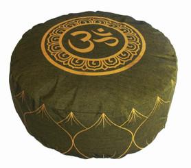Boon Decor Meditation Cushion Buckwheat Kapok Fill Om in Lotus Olive Green 7 high