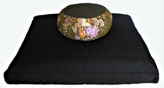 Boon Decor Meditation Cushion Set Zafu and Zabuton Japanese Silk Cosmos Flowers