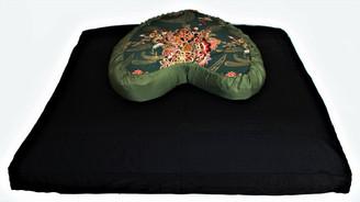 Boon Decor Meditation Cushion Set Crescent Zafu and Zabuton Japanese Silk Green