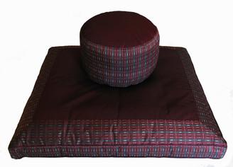 Boon Decor Meditation Cushion Set High Seat Zafu and Zabuton - Global Weave - Gray/Burgundy