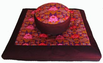 Boon Decor Zabuton and Combination Zafu Meditation Cushion Set Lotus Lake Blossom Burgundy
