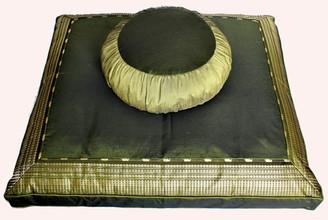 Boon Decor Meditation Cushion Zafu and Zabuton Set - One of a Kind Brocade and Rain Silk Green