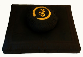 Boon Decor Zafu and Zabuton Meditation Cushion Set Calligraphy Om Black on Black