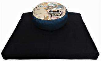 Boon Decor Meditation Cushion Set Black Zabuton Buckwheat and Kapok ZafuRising of the Phoenix