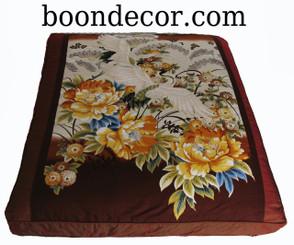 Boon Decor Zabuton Meditation Floor Cushion One of a Kind Two Cranes and Golden Peony