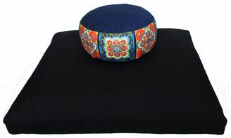 Boon Decor Black Zabuton and One-of-a-Kind Combination Zafu Bliss Blue