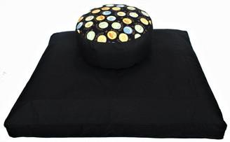 Boon Decor Meditation Cushion Set Buckwheat Kapok Zafu and Black Zabuton Zen Harmony