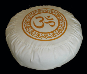Boon Decor Meditation Cushion Zafu Pillow Purity Collection Gold/Ivory Polished Cotton SEE SYMBOLS