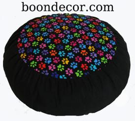 Boon Decor Meditation Cushion Buckwheat Zafu Pillow - Rare Find Fabric Paws Print