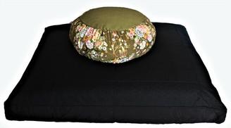 Boon Decor Meditation Cushion Set Buckwheat Japanese Silk Zafu - Peony