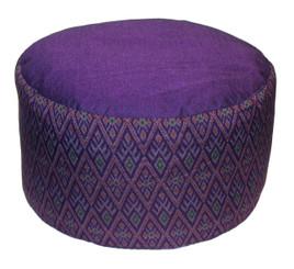 Boon Decor Meditation Cushion High Rise Zafu Buckwheat and Kapok Fill - Ikat Print Purple 9 h