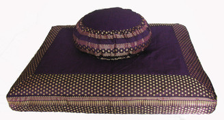 Boon Decor Meditation Cushion Set - Zafu Pillow and Zabuton Floor Mat - One of a Kind Brocade Purple