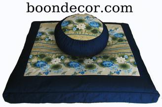 Boon Decor Zabuton and Zafu Meditation Cushion Set - Limited Edition - Lotus Sanctuary Garden