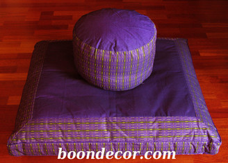 Meditation Cushion Set - High Seat Zafu & Zabuton - Global Weave - Purple/Lime