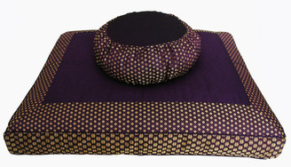 Boon Decor Meditation Cushion Set Buckwheat Zafu and Zabuton - One of a Kind - Brocade Purple