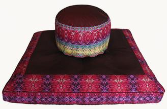 Boon Decor Meditation Cushion High Seat Zafu and Zabuton Set - One of a Kind - Spice Route Print