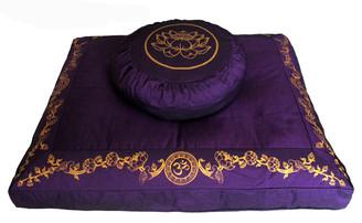 Boon Decor Meditation Pillow Set Zafu and Zabuton Lotus on Om and Lotus Wreath Purple