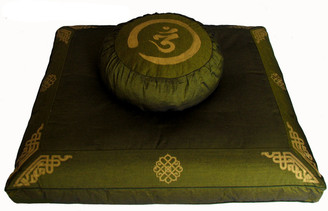 Boon Decor Meditation Cushion Set Buckwheat Zafu and Zabuton - Olive Green - SEE SYMBOLS