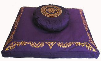 Boon Decor Meditation Cushion Buckwheat Zafu and Zabuton Set - Purple - SEE SYMBOL CHOICES