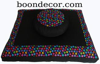 Boon Decor Zafu and Zabuton Meditation Cushion Set - Limited Edition - Paws Cotton Print