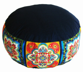 Boon Decor Meditation Cushion Buckwheat Kapok fill Zafu -One-of-a-Kind Bliss Blue 14 dia 7 loft