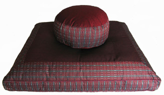 Boon Decor Meditation Cushion Set - Combo Fill Zafu and Zabuton Floor Mat - Globa Weave - Burgundy/Gray