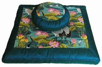 Boon Decor Zafu and Zabuton Meditation Cushion Set - One of a Kind - Cranes in Lotus Garden