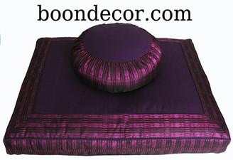 Boon Decor Meditation Cushion Set - Zafu and Zabuton - Global Weave - Purple