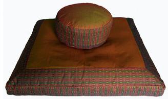 Boon Decor Meditation Cushion Set - Combo Fill Zafu and Zabaton - Global Weave - Saffron/Brown