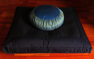Boon Decor Black Zabuton Meditation Cushion Set - Global Weave Teal