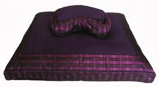 Boon Decor Meditation Cushion Set - Crescent Zafu Pillow and Zabuton - Global Weave Purple