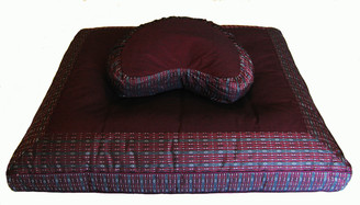 Crescent Zafu & Zabuton Meditation Cushion Set - Global Weave Burgundy