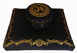 Boon Decor Meditation Cushion Set Higher Zafu and Zabuton Om in the Lotus Black