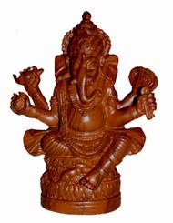 Boon Decor Ganesh Figurine - Sitting Posture - 5 Wood Grain Resin
