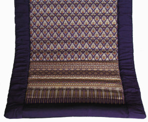 Boon Decor Meditation Roll Up Floor Mat w/Carry Handle - Quilted Cotton Print - Purple
