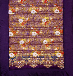 Meditation Roll Up Floor Mat w/ Carry Handle - Quilted Cotton Print - Purple