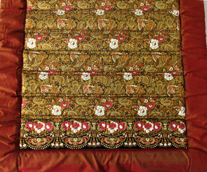 Boon Decor Meditation Roll Up Floor Mat w/Carry Handle - Quilted Cotton Print - Red-brown/Gold