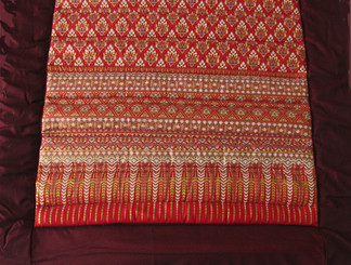 Meditation Roll Up Floor Mat w/Carry Handle - Quilted Cotton Print - Burgundy