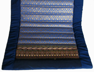 Boon Decor Meditation Roll Up Floor Mat w/Carry Handle - Quilted Cotton Print - Royal Blue / Blue