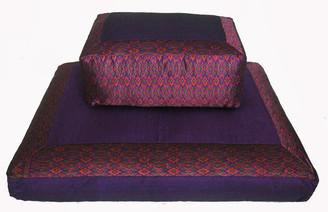 Boon Decor Meditation Cushion Set - Zafu and Zabuton Floor Mat - Global Ikat Purple