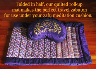 Boon Decor Meditation Roll Up Floor Mat w/Carry Handle - Quilted Cotton Prints Shown As A Travel Zabaton Under Zafu