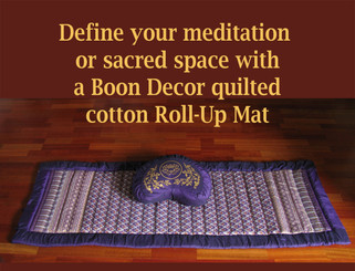 Boon Decor Meditation Roll Up Floor Mat w/Carry Handle - Quilted Cotton Prints Shown with Zafu
