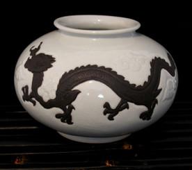Boon Decor Dragon Vase - White Celadon Crackle Glaze 6.5 high